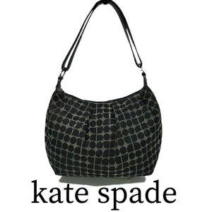 Kate Spade Black & Grey Dot Noel Hobo Shoulder Bag